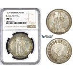 ZM441, Switzerland, Shooting 5 Francs 1879, Silver, NGC MS65 Basel Festival