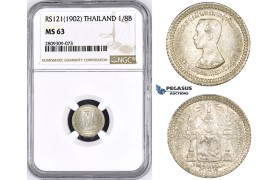 ZM442, Thailand, Rama V, 1/8 Baht RS121 (1902) Silver, NGC MS63