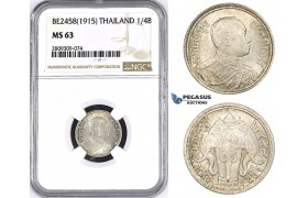 ZM443, Thailand, Rama VI, 1/4 Baht BE2458 (1915) Silver, NGC MS63