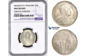ZM444, Thailand, Rama VI, 1/2 Baht BE2464 (1921) Silver, NGC UNC Details