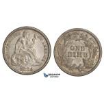 ZM445, United States, Liberty Seated Dime (10C) 1884, Philadelphia, Silver, Toned XF