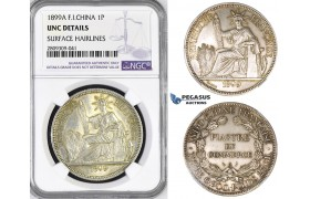 ZM448, French Indo-China, Piastre 1899-A, Silver, NGC UNC Details