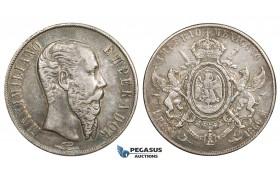ZM450, Mexico, Maximilian, Peso 1866-Mo, Mexico City, Silver, Toned VF-XF