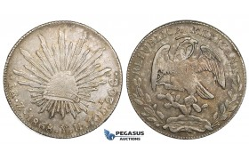 ZM451, Mexico, 8 Reales 1868 Zs YH, Zacatecas, Silver, Toned aXF