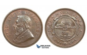 ZM453, South Africa (ZAR) Penny 1898, Red Brown UNC