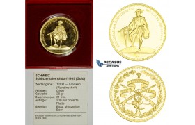ZM456, Switzerland, Shooting 1000 Francs 1985, Bern, Gold (25.95g) Ch Proof, COA/Original Box