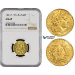 ZM483, France, Second Republic, 20 Francs 1851-A, Paris, Gold, NGC MS62