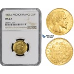 ZM486, France, Napoleon III, 20 Francs 1855-A (Anchor) Paris, Gold, NGC MS62