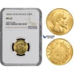 ZM487, France, Napoleon III, 20 Francs 1855-A (Dog) Paris, Gold, NGC MS62