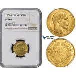 ZM488, France, Napoleon III, 20 Francs 1856-A, Paris, Gold, NGC MS61