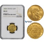 ZM489, France, Napoleon III, 20 Francs 1858-A, Paris, Gold, NGC MS63