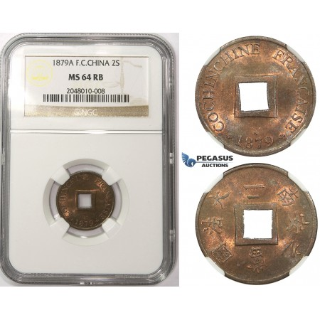 ZM48, French Cochine China, 2 Sapeque 1879-A, Paris, NGC MS64RB