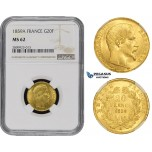 ZM490, France, Napoleon III, 20 Francs 1859-A, Paris, Gold, NGC MS62