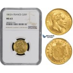ZM492, France, Napoleon III, 20 Francs 1862-A (Larga A) Paris, Gold, NGC MS63, Pop 1 for Large A