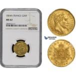 ZM494, France, Napoleon III, 20 Francs 1864-A, Paris, Gold, NGC MS62