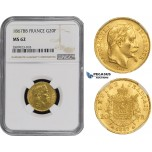 ZM495, France, Napoleon III, 20 Francs 1867-BB, Strasbourg, Gold, NGC MS62