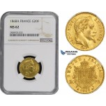 ZM497, France, Napoleon III, 20 Francs 1868-A, Paris, Gold, NGC MS62