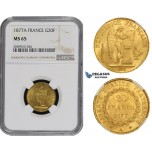 ZM501, France, Third Republic, 20 Francs 1877-A, Paris, Gold, NGC MS65