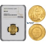 ZM502, France, Third Republic, 20 Francs 1877-A, Paris, Gold, NGC MS64