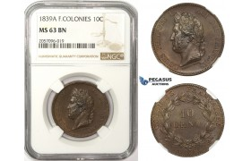 ZM50, French Colonies, Louis Philippe I, 10 Centimes 1839-A, Paris, NGC MS63BN (Prooflike fields)