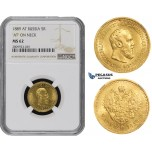 ZM511, Russia, Alexander III, 5 Roubles 1889 (АГ)-А.Г., St. Petersburg, Gold, NGC MS62