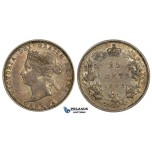 ZM535, Canada, Victoria, 25 Cents 1882-H, Heaton, Silver, Rainbow toned AU