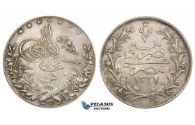 ZM536, Ottoman Empire, Egypt, Muhammad V, 10 Qirsh AH1327/3-H, Heaton, Silver, XF-AU