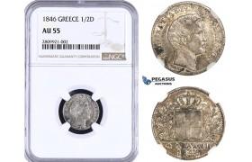 ZM539, Greece, Othon, 1/2 Drachma 1846, Athens, Silver, NGC AU55, Very Rare!