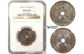 ZM53, French Indo-China, 1 Centime 1901-A, Paris, NGC MS64BN