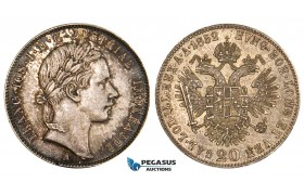 ZM549, Austria, Franz Joseph, 20 Kreuzer 1852-A, Vienna, Silver, Toned XF-UNC