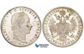 ZM551, Austria, Franz Joseph, 1/4 Gulden 1858-B, Kremnitz, Silver, Prooflike UNC