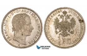 ZM552, Austria, Franz Joseph, 1/4 Gulden 1859-A, Vienna, Silver, Toned UNC