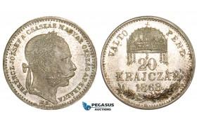 "ZM553, Hungary, Franz Joseph, 20 Krajczar ""VALTO PENZ"" 1868 KB, Kremnitz, Silver, Ch UNC, Rare!"