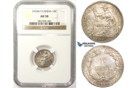ZM55, French Indo-China, 10 Centimes 1910-A, Paris, Silver, NGC AU58