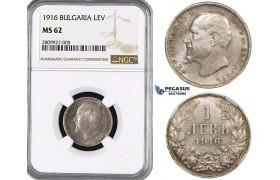 ZM560, Bulgaria, Ferdinand, 1 Lev 1916, Silver, NGC MS62, Rare!