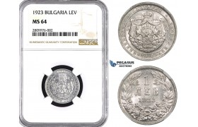 ZM561, Bulgaria, Boris III, 1 Lev 1923, NGC MS64