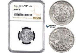 ZM562, Bulgaria, Boris III, 1 Lev 1923, NGC MS64