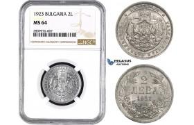 ZM563, Bulgaria, Boris III, 2 Leva 1923, NGC MS64