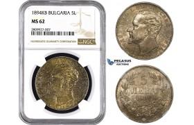 ZM564, Bulgaria, Ferdinand, 5 Leva 1894 KБ, Kremnitz, Silver, NGC MS62