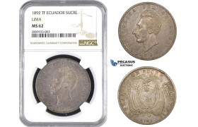 ZM566, Ecuador, 1 Sucre 1892 TF, Lima, Silver, NGC MS62, Pop 1/0, Very Rare