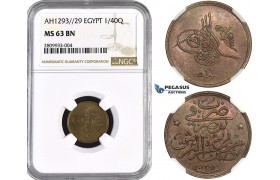 ZM567, Ottoman Empire, Egypt, Abdul Hamid II, 1/40 Qirsh AH1293/29, NGC MS63BN