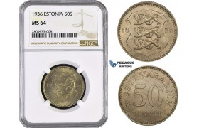 ZM570, Estonia, 50 Senti 1936, NGC MS64