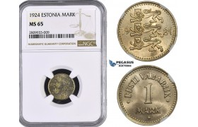 ZM571, Estonia, 1 Mark 1924, NGC MS65