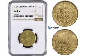ZM575, Estonia, 1 Kroon 1934, Silver, NGC MS65