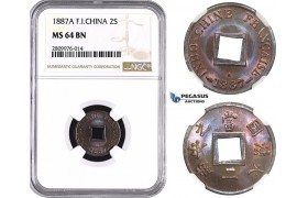 ZM579, French Indo-China, 2 Sapeque 1887-A, Paris, NGC MS64BN