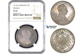 ZM581, Germany, Prussia, Wilhelm II, 3 Mark 1914-A, Berlin, Silver, NGC PF64