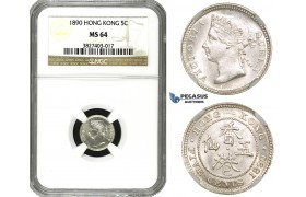 ZM585, Hong Kong, Victoria, 5 Cents 1890, Silver, NGC MS64