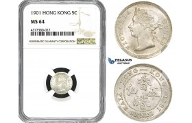 ZM586, Hong Kong, Victoria, 5 Cents 1901, Silver, NGC MS64