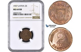 ZM589, Latvia, 2 Santimi 1937, NGC MS64RB