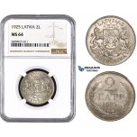ZM590, Latvia, 2 Lati 1925, Silver, NGC MS64